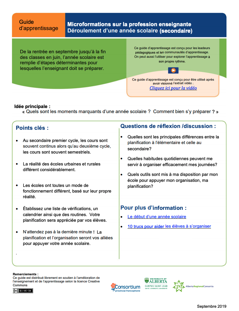 Guide d'apprentissage